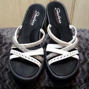 Sketchers White Embellished Wedge Sandals